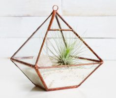 Air terrarium kit, glass terrarium with top pyramid for hanging or sitting – copper or silver color – terrarium supplies – ecological