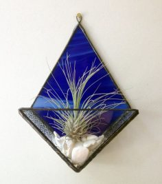 British Columbia lead-free stained glass terrarium air plant stand, Canada