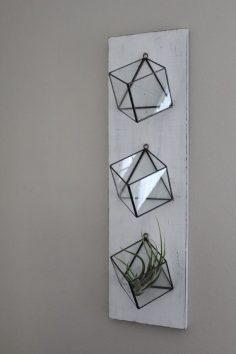 Set Of 3 Hanging Planters Geometric Glass Terrarium Wall Mounted Air Plant Succulent Holder Indoor Planter Vertical Garden Rustic Boho Decor