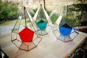 Colored geometric glass terrarium, Handmade container, Red, Green, Blue, Stained glass box, Indoor planter, Gifts for her, Succulent pod
