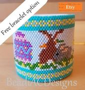 Easter egg wrap peyote pattern (with free wristband variation). Intermediate level.