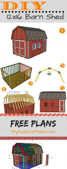 Gambrel shed plans 12 × 16