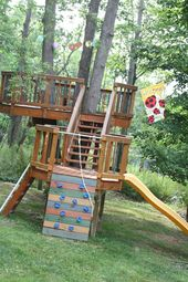 More than 38 ideas for outdoor playgrounds for children.