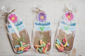 Mason jar party favors for gummy worms printable DIY mason jar flower vase for bug party, garden shower, butterfly party, spring birthday