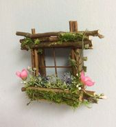 Mini fairy window 2 1/2 inches by 2 1/2 inches in size, add fairy shoes, see the option below ~ Handmade by Olive ~ always unique in its class
