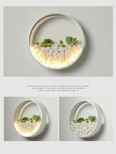 Nordic wall lamp with succulent pot round iron circle