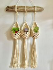 The Pod Trio Macrame plant hanger