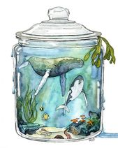 "Watercolor, whale painting, terrarium, bottled whale, whale art, watercolor print, sea, print titled, ""Contain the sea"""