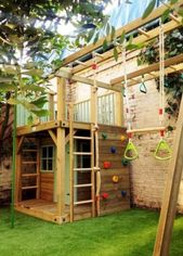 Backyard ideas for small playgrounds Families of children Playhouses 45 Ideas