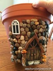 Paste pebbles and moss into the old terracotta pot and see how it transforms into a strange fairytale house – Flower Blog