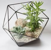 Stained glass handmade florarium, geometric vase, indoor garden plants display box, terrarium container, succulent planter pot, home decor